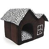 Mascota Habitacion - TOOGOO(R)Lujo Alto-Final Doble Mascota Casa Marron Perro Habitacion 55 x 40 x 42 cm