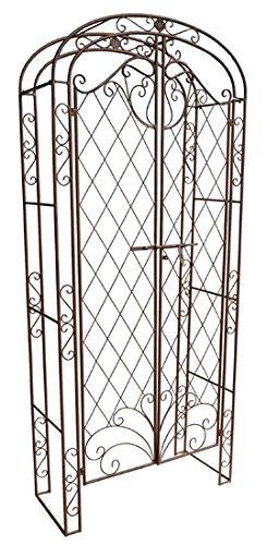 Nene Home DANARA Rosenbogen mit integrierter Türe, aus Schmiedeeisen, rostfarben lackiert