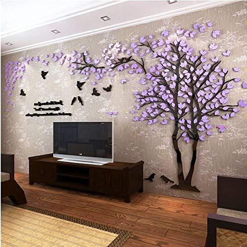 ZJ 3D Riesige Paar Baum DIY Wandaufkleber Kristall Acryl Wandtattoo Wand Wandbilder Für Wohnzimmer Schlafzimmer TV Hintergrund Home Decoration (Color : Purple-Right, Size : Medium)