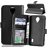 JEEXIA Funda para Huawei Y635, Moda Business Flip Wallet Case Cover PU Cuero con Soporte Cubierta Protectora - Negro