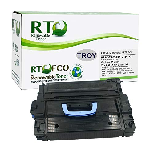 Renewable Toner Compatible MICR Toner Cartridge High Yield Replacement for HP 43X C8543X Troy 02-81081-001 Laserjet 9000 9040 9050