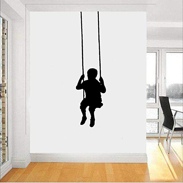 Wall Stickers Murals Swinging Child Wall Decals Removable Wall Sticker Little Boy Silhouette Wall Decor For Nursery Kids Room Baby Bedroom Decals 43X85Cm