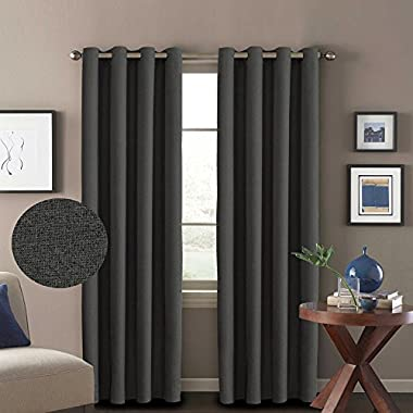 H.VERSAILTEX Room Darkening Thermal Insulated Textured Linen Curtains for Living Room,Antique Metal Grommet Window Drapes,52 by 96 - Inch (2 Panels Set) - Charcoal Gray