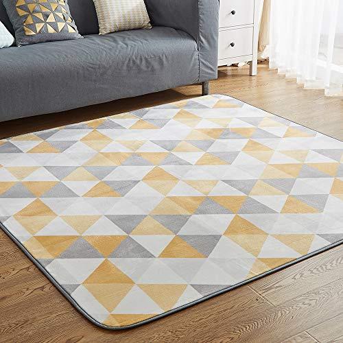 カーペットラグ洗える滑り止め付防ダニ抗菌防臭135×185cm(約1.5畳)12色選べる1年中使えるタイプ北欧ふわっと手触り優しいフランネルラグ絨毯トライアングル柄・グレー(VKLiving)