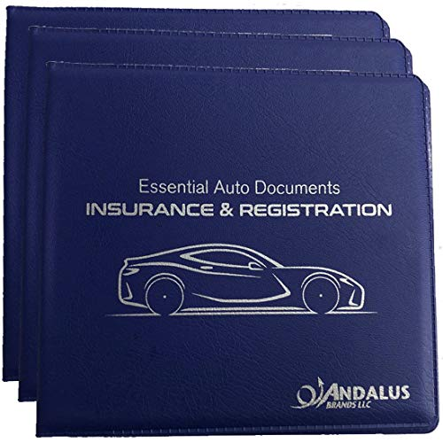 ANDALUS Auto Car Truck Motorcycle Registration and Insurance Document Holder Wallet   Black Vinyl Case   Strong Velcro Closure   Keeps Glove Compartment Organized (Blue 3-Pack)
