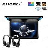 XTRONS 15.6 Inch Ultra-Thin FHD Digital TFT Screen 1080P Video Car Overhead Player Roof Mounted Monitor HDMI Port Black New Version IR Headphones