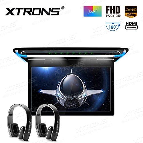 XTRONS 15.6 pulgadas ultra fina FHD Digital TFT pantalla 1080P Video del coche sobre la cabeza del reproductor montado en el techo del monitor puerto HDMI negro nueva versión IR auriculares
