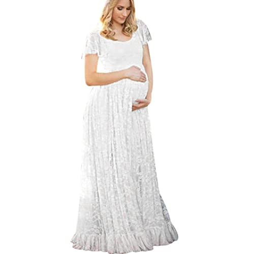 9f59a769ee4 MOONHOUSE Maternity Floral Lace Dress Maxi Split V Neck Flying Sleeves  Front Gown Bridesmaid Pregnant Dress