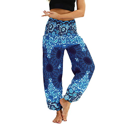 Nuofengkudu Mujer Pantalones Harem Tailandes Hippies Vintage Boho Flores Verano Alta Cintura Elastica Casual Danza Yoga Pants Bombachos Azul Oscuro Floral
