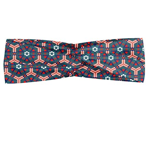 ABAKUHAUS traditionell Halstuch Bandana Kopftuch, Marokkanische Mosaik-Fliesen Hexagonal Zier viktorianische Keramik Barock, Elastisch und Angenehme alltags accessories, Mehrfarbig