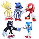 Max Fun Sonic The Hedgehog Action Figures with Movable Joint Playsets Toys, 4.7'' Tall Cake Toppers Kids Gift (Pack of 5)