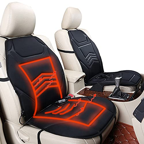 Furado Auto Sitzheizung Sitzauflage, 12V Universal Auto Sitzheizungen Heizkissen mit Temperaturregelfunktion, Beheizbare Autositzauflage Vorderer Stuhl für PKW LKW SUV Wohnmobil
