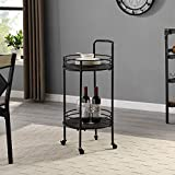 FirsTime & Co. Industrial Joliet Round Bar Cart, American Crafted, Black, 16 x 16 x 33.5 ,