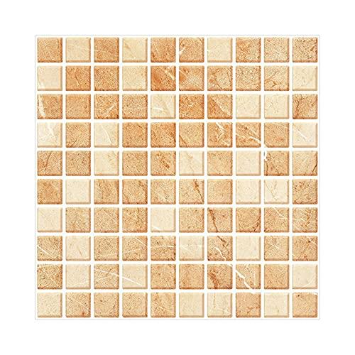 Papel pintado autoadhesivo de mosaico de 2 tamaños, 3D, a prueba de aceite, impermeable, para salón, cocina, baño (20 hojas)