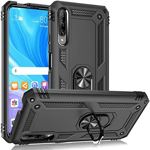 Fetrim Hülle Kompatibel für Honor 9X PRO, doppellagig stoßfest Schutzhülle mit Drehring Ständer für Huawei P Smart Pro 2019/Honor 9X Pro Schwarz