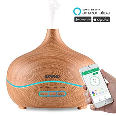 Essential Oil Diffuser, WiFi Smart Humidifier Compatible with Alexa APP, RENPHO 300ml Wood Grain Ultrasonic Aromatherapy Diffuser for Home Office Baby, Adjustable Cool Mist, Waterless Auto Shut-off