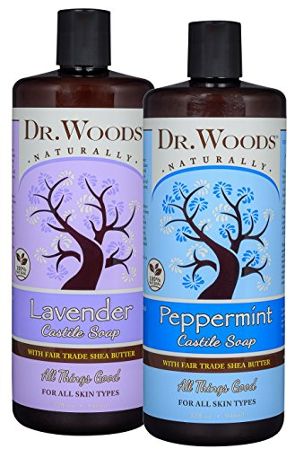 Dr. Woods Refreshing and Relaxing Pure Liquid Castile Soap with Organic Shea Butter Combo (2 Assorted 32 Ounce Bottles)