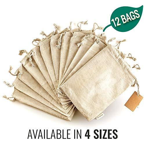Cotton Produce Bags - Multipurpose Eco Bags - Muslin Bags with Drawstring - Large 10x12 Inches - Canvas Bags Vegetable and Bread Bags - Fabric Sachet Bags - Linen Bag 12 Pcs by Leafico