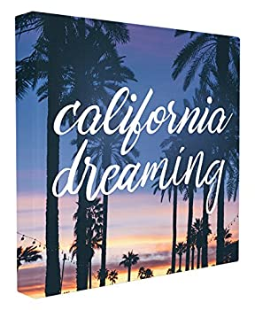 Stupell Home Décor California Dreaming Cursive Typography Stretched Canvas Wall Art 24 x 1.5 x 24 Proudly Made in USA