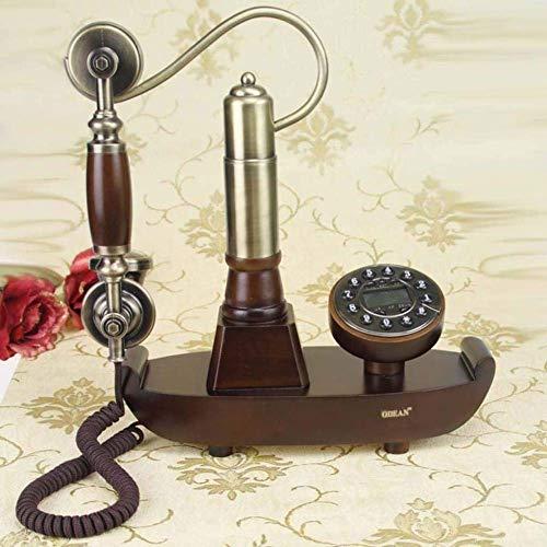 qwertyuio Nostálgico Teléfono Antiguo Identificación De Llamadas Entrantes Europa Corsair Barco Teléfono De Madera Teléfono Fijo Antiguo con Botón De Pulsador Teléfono Vintage con Cable para