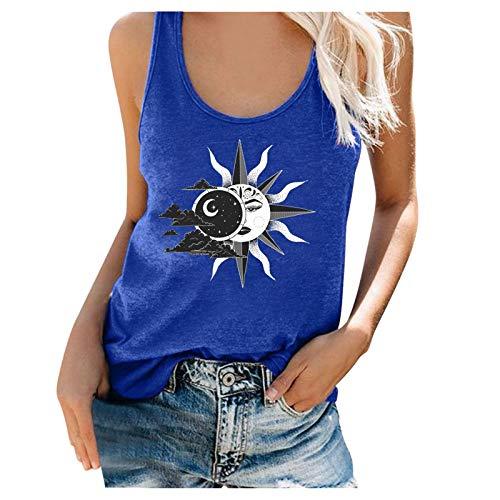 Liably Camiseta sin mangas para mujer, diseño retro de sol y luna azul XXL