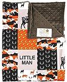 Baby Blanket - Minky, Deer, Fox, Moose, Goose, Bear, Antlers and Arrows, Orange, Black and Tan Camouflage