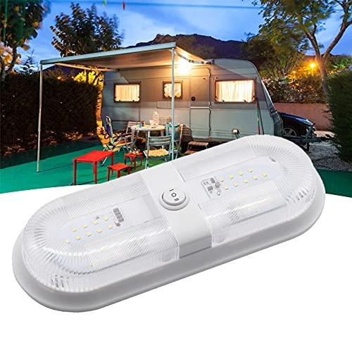 NCBH Paquete de 2 luces LED de techo de 12 V/24 V, luces LED de RV interiores, iluminación interior de 280/560 lm, con interruptor de encendido/apagado, para remolque, barco, doble lámpara