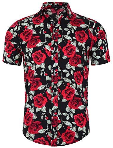 uxcell Uomo Slim vestibilità Stampa Floreale Manica Corta Bottoni Spiaggia Hawaiano Casual Camicia Rosa Nera 48
