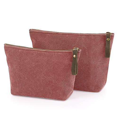 SMRITI Canvas Large Cosmetic Bag Travel Makeup Organizer Pouch Toiletry Bag for Women Portable Daily Storage Organizer Coin Purse Holder Zipper Closure(Watermelon Red, 2 pcs)