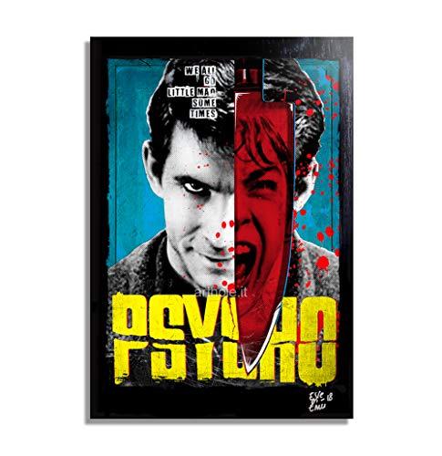 Norman Bates aus Film Psycho (Alfred Hitchcock) - Original Gerahmt Fine Art Malerei, Pop-Art, Poster, Leinwand, Artwork, Film Plakat, Leinwanddruck, Horror, Halloween