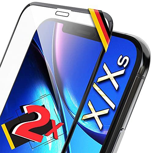 UTECTION 2X Full Screen Schutzglas 3D für iPhone X/XS - Ideale Anbringung Dank Rahmen - Premium Bildschirmschutz 9H Glas - Kompletter Schutz Vorne - Folie Schutzfolie Schutzglasfolie Ultra Clear