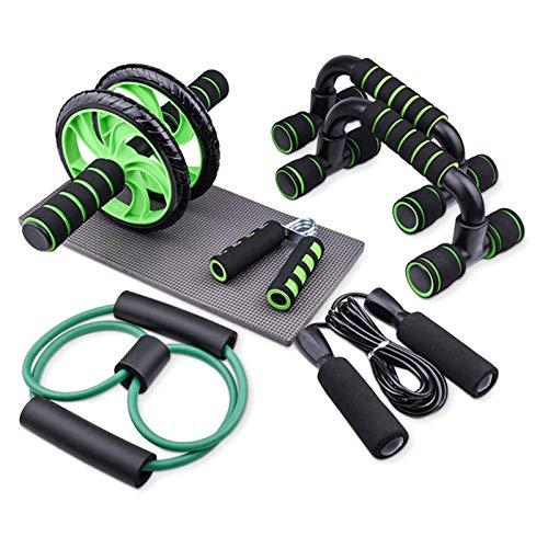 Lixada Rueda Abdominales Kit 6 en 1 con Push-UP Bar Cuerda para Saltar Esterilla de Rodilla para Entrenamiento Muscular Fitness Ejercicio en Casa