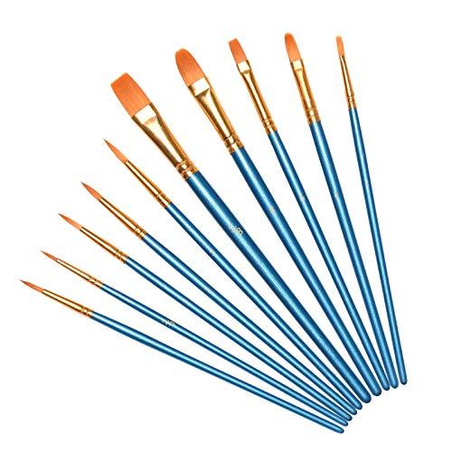 Vicloon Nylon Pinsel, 10 Stück Künstlerpinsel, Pinselset-Malen für Aquarell, Acryl & Ölgemälde, Perfektes Detail Pinsel für Anfänger, Kinder, Künstler und Gemälde Liebhaber - Blau