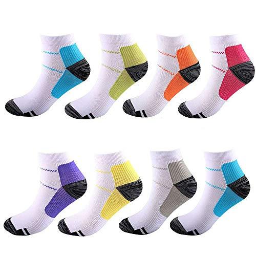 8 pares de calcetines de compresión para pies de 15 a 20 mmHg para mujeres y hombres,Fascitis al plantares,soporte de corte atlético y médico para vuelo,viajes,correr,gimnasio,enfermeras