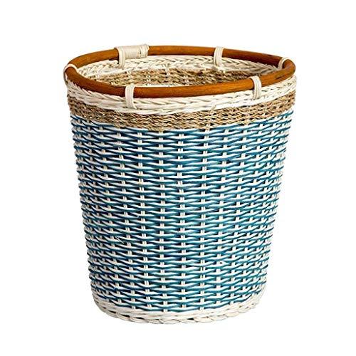 GWFVA Trapoubelle, blauw rotan afval, handgeweven lichaam, slaapkamer, woonkamer, tuin, creatieve prullenbak, vuilnisbak zonder deksel 27 * 27 * 28cm, interieur afval (grootte: 27 * 27 * 28CM)