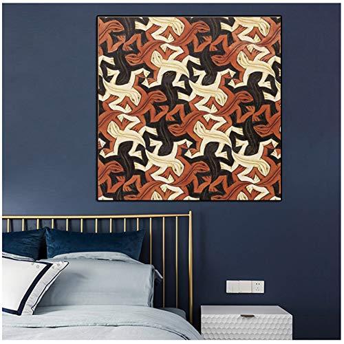 chtshjdtb canvas schilderij abstract print hagedis van Nederlandse kunstenaar Escher Pop Art wandafbeeldingen voor woonkamer Cuadros Home Decor -70x70cm No Frame