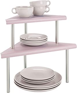 mDesign Estantería esquinera con 2 niveles – Baldas de cocina para rincones de encimeras e interiores de armarios – Estantes de metal y acero con dos alturas para la cocina – rosa y plateado mate