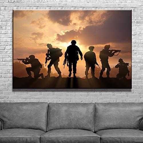 UHvEZ 1000pcs_Soldado del ejército Pintura al Atardecer_Rompecabezas para Adultos Rompecabezas para niños Rompecabezas de Paisaje de Madera Rompecabezas de Regalo Educativo para niños_50x75cm