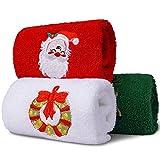 Christmas Hand Guest Kitchen Towel Set, Kitchen Bathroom Hand Tip Guest Towels Christmas Holidays, 100% Cotton Embroidered Premium Design (18Lx 12W)