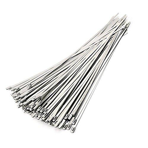 ANZESER 100 Stück Edelstahl kabelbinder 300mm Kabelbinder Stahlband Hitzeschutzband Auspuffband (300mm)