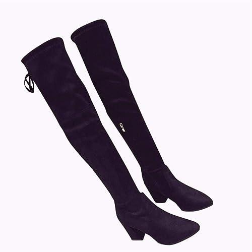 HBDLH Damenschuhe Flachen Boden Hinten Gefesselt Mit Hohen 7Cm Dicke Sohle Gummi Stiefel Dünn Wildleder Temperament Witz über Knie - Stiefel.