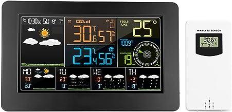 Romacci Estação meteorológica multifuncional WiFi colorido APP Controle Monitor meteorológico inteligente Interior Tempera...