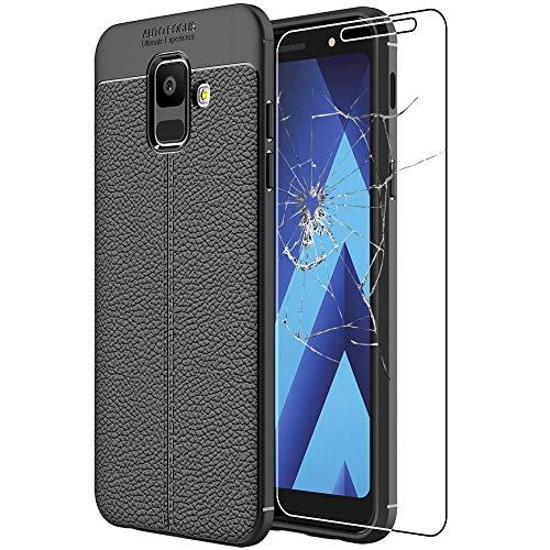 ebestStar - Funda Compatible con Samsung A6 Galaxy 2018 SM-A600F Carcasa Silicona Gel, Protección Diseño Cuero Ultra Slim Case, Negro + Cristal Templado [Aparato: 149.9 x 70.8 x 7.7mm, 5.6'']