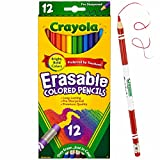 Crayola Erasable Colored Pencils, 12 Non-Toxic, Pre-Sharpened, Kids 4 & Up, Assorted Colors