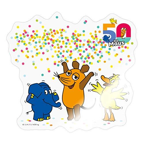 Spreadshirt Die Sendung Mit Der Maus 50 Jahre Jubiläum Konfetti Sticker, One Size, Transparent glänzend