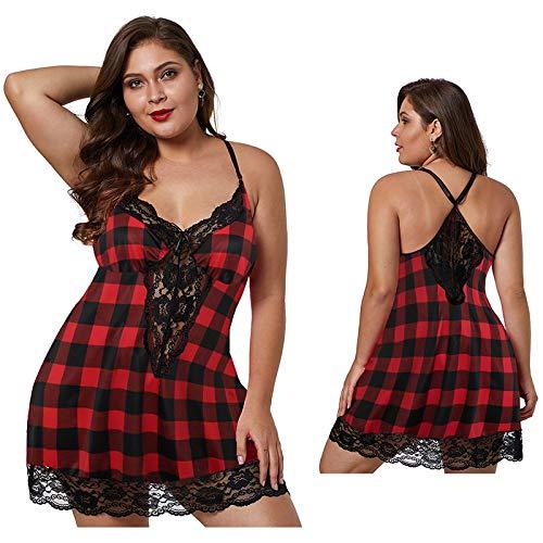 RIQWOUQT Conjunto Lencería Sexy para Mujer Pijama De Cuadros Escoceses, Camisón De Encaje, Ropa Interior, Tul, Lencería Sexy Transparente Y Simple, XL