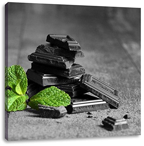 Pepermunt chocolade in stukkenCanvas Foto Plein | Maat: 60x60 cm | Wanddecoraties | Kunstdruk | Volledig gemonteerd