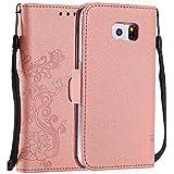 C-Super Mall-UK Custodia Galaxy S7 [5 Carte] [Staccabile] Magnetico [Trasparente TPU Bumper] per Samsung Galaxy S7 Rosa Oro