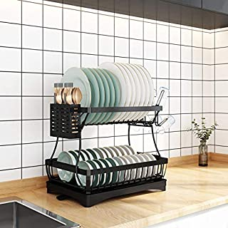 RETMI Sèche-vaisselle d'organisation de cuisine à 2 niveaux avec couverts et porte-verre pour la cuisine
