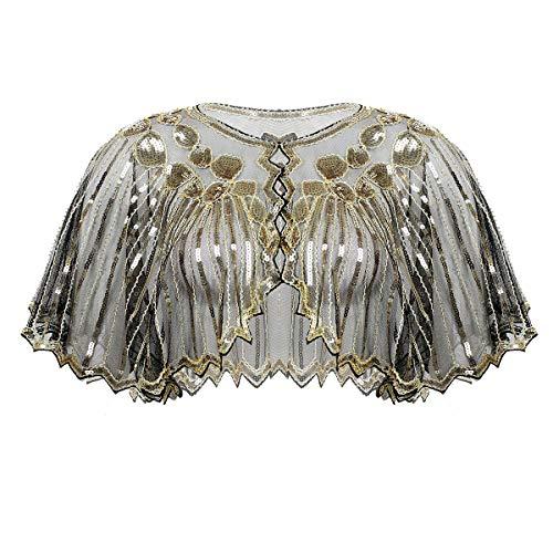 iixpin Chal de Fiesta Capa de Lentejuelas Mujeres Elegante Bolero Torera con Cuentas Chal Vintaje de los 1920s Tops Blusa Cover Up Vestido de Boda Cóctel Cena